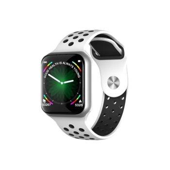 Смарт часовник F8, 37mm, Bluetooth, водоустойчив IP67, златист с бяла каишка image
