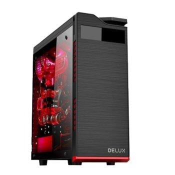 Кутия Delux DW701, ATX, M-ATX, 2x USB 2.0, 1x USB 3.0, прозорец, черна, без захранване image