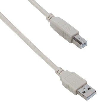 Кабел DeTech, USB A(м) към USB B(м), 1.5m, бял image