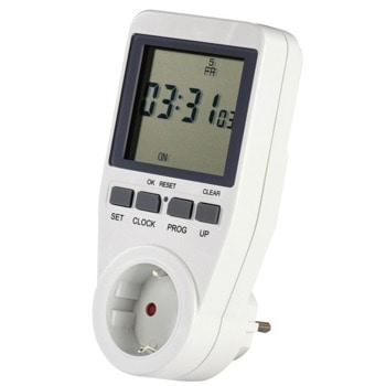 Контакт/таймер Hama 137290, 16 програми за превключване, поддържа лятно часово време, дисплей, защита за деца, 3680W максимална управляема мощност, бял image