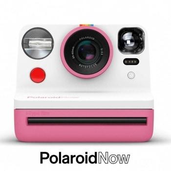 Фотоапарат Polaroid Now (розов), моментални снимки, светкавица, с батерия, auto-focus, USB image