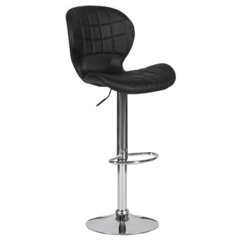 Бар стол Carmen 4055, до 100кг, еко кожа, хромирана база, газов амортисьор, черен image