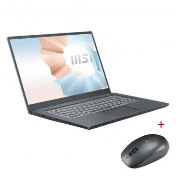 "Лаптоп MSI Modern 14 B11MO (9S7-14D314-028)(сив) с подарък мишка MSI Prestige, двуядрен Tiger Lake Intel Core i3-1115G4 1.7/4.1 GHz, 14.0"" (35.56 cm) Full HD IPS Anti-Glare Display, (HDMI), 8GB DDR4, 256GB SSD, 1x Type-C, Windows 10 Home image"