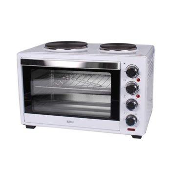 Готварска печка Muhler MN-3809, 2 броя нагревателни зони, 38 л. обем на фурната, бяла image