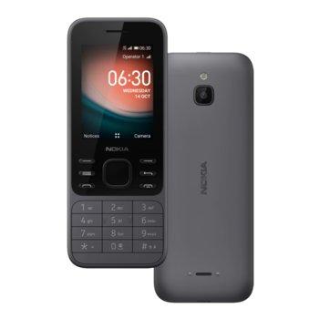 "GSM Nokia 6300 (сив), поддържа 2 SIM карти, 2.4"" (6.10 cm) TFT дисплей, четириядрен Snapdragon 210 1.1GHz, 512MB RAM, 4GB Flash памет (+ microSD слот), 0.3 MPix камера, KaiOS image"