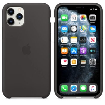 Калъф за Apple iPhone 11 Pro, силиконов, Apple Silicone Case MWYN2ZM/A, черен image