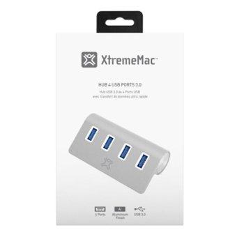 USB Хъб XtremeMac, 4x USB A(ж), USB 3.0, сребрист image