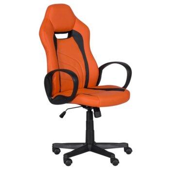 Геймърски стол Carmen 7525 R, до 130кг. макс. тегло, еко кожа, полипропиленова база, газов амортисьор, регулируем, оранжево-черен image