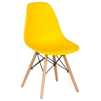 Трапезен стол Carmen 9957, крака от бук и метални подсилващи елементи, жълт image