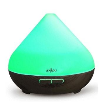Ароматизатор Anjou AD001 Dark Wood, ултразвуково разпръскване, 8 часа продължителност на работа, капацитет на резервоара 300мл, авт.изключване при празен резервоар или таймер, 7 LED светлини, черен image