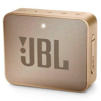 Тонколона JBL GO 2, 1.0, 3W RMS, 3.5mm jack/Bluetooth, шампанско, до 5 часа работа, IPX7 image