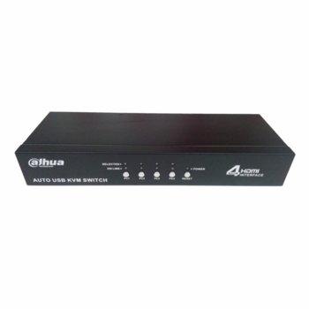 KVM суич Dahua KVM0401HM-E100, от 4x HDMI към HDMI, 2x USB, PS/2, черен image