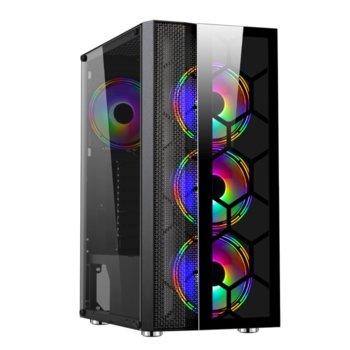 Кутия Makki F05-RGB-3F, ATX/Micro ATX/Mini ITX, 1x USB 3.0, черна, RGB подсветка, без захранване image