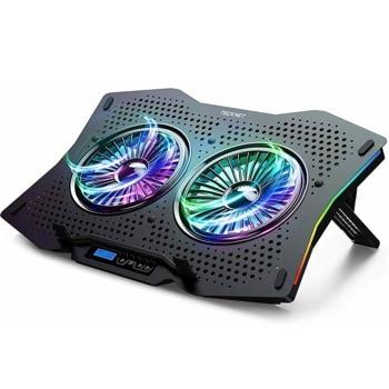 """Охлаждаща поставка за лаптоп TeckNet ECP01001BA01, за лаптопи до 17"""" (43.18 cm), RGB подсветка, 1400 rpm, USB хъб, 2 вентилатора, черна image"""