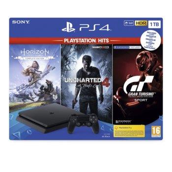 Конзола PlayStation 4 Slim в комплект с 3 игри (Horizon Zero Dawn + Uncharted 4 + Gran Turismo), 1TB, черен image