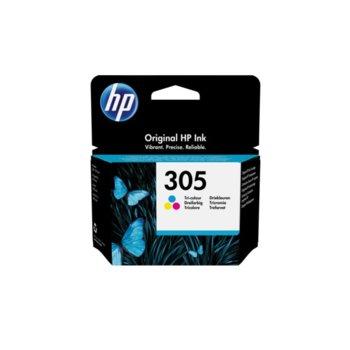 Глава за HP DeskJet All in One Printers, Tri-color, 3YM60AE - HP 305 Original Ink Cartridge, 100 брой копия image