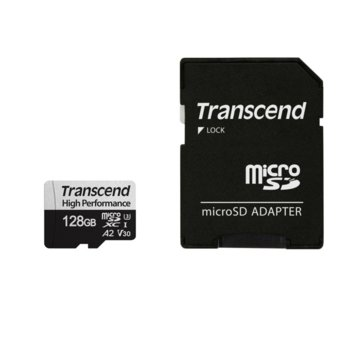 Карта памет 128GB microSDXC с адаптер, Transcend 330S, UHS-I U3, скорост на четене 100MB/sec, скорост на запис 85MB/sec image