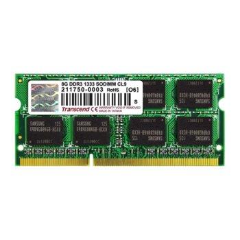 Памет 8GB DDR3 1333MHz, Transcend, SO-DIMM, 1.5V image