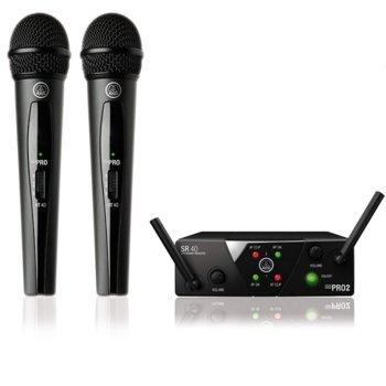 Тонколона AKG WMS40 mini dual vocal set, с 2 безжични микрофона, 40 Hz - 20 kHz, черна image