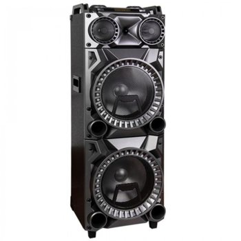 Караоке колона Zephyr ZP 9999 2G12 2.0, 500W, Bluetooth, AUX, SD Card, USB, жак за китара, 2 бр. безжични микрофона, черна image