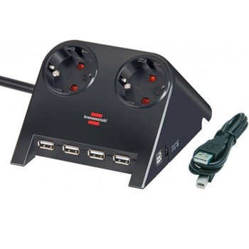 Разклонител Brennenstuhl, 2 гнезда-4x USB, обезопасени спрямо деца контакти, 1.8m, Черен image