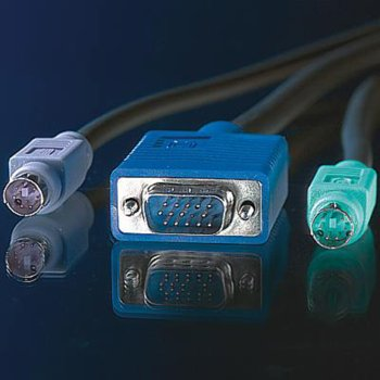 KVM кабел ROLINE 11.99.5456, 1x HD15 M/M, 2x PS/2 M/M, 3C+4, 3.0 м image