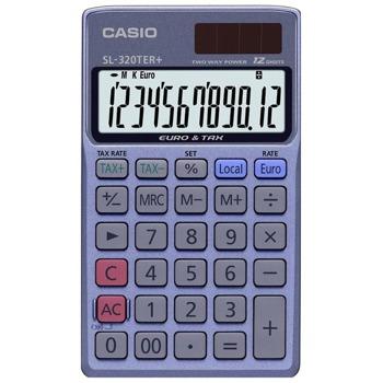 Калкулатор Casio SL-320TER+, 12-цифрен EXTRA BIG LC-дисплей, функция за данъчни изчисления, преобразуване на валута, син image