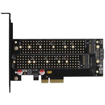 Контролер Axagon PCEM2-D, от PCIe 4x към 2x M.2 (NVMe/SATA) SSD, за 2230/2242/2260/2280/22110 image