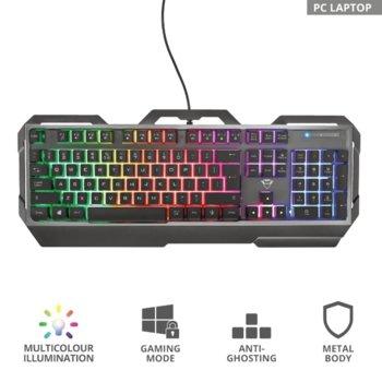 Клавиатура Trust GXT 856 Torac 23577, RGB подсветка, 12 медийни бутона, USB, черна image