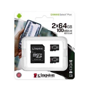 Карта памет 64GB microSDHC с адаптер, Kingston Canvas Select Plus Multi Pack, Class 10 UHS-I, скорост на четене 100MB/s, скорост на запис 10 MB/s, 2 броя image