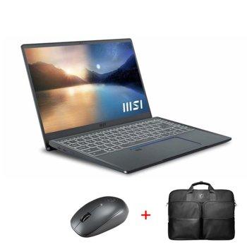 """Лаптоп MSI Prestige 14 Evo A11M (9S7-14C412-279)(сив) с подарък чанта и мишка MSI, четириядрен Tiger Lake Intel Core i7-1185G7 4.80 GHz, 14.0"""" (35.56 cm) Full HD IPS Anti-Glare Display, 16GB DDR4, 512GB SSD, USB Type-C, Windows 10 Home image"""