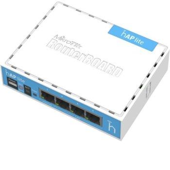 Tочка за достъп Mikrotik hAP lite RB941-2nD, 2.4GHz (300Mbps), 4x LAN 100, 1.5dBi, 2x вътрешни антени image