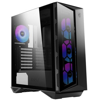 Кутия MSI MPG GUNGNIR 110R, ATX/Micro ATX/Mini-ITX, 1x USB 3.2 Gen 2 Type-C, 2x USB 3.2 Gen 1, прозорец, черна, без захранване image