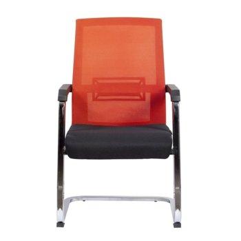 Посетителски стол RFG Roma M, дамаска и меш, черна седалка, червена облегалка image