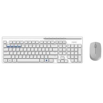 Комплект клавиатура и мишка Rapoo 8100M, безжични, BT 3.0/4.0/2.4GHz, мишка (1300 dpi), мултимедийни бутони, нископрофилни клавиши, бели, USB image