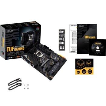 Дънна платка Asus TUF Gaming B460 Plus, B460, LGA1200, DDR4, PCI-E 3.0, (DisplayPort&HDMI),(CFX), 6x SATA 6Gb/s, 2x M.2, 6x USB 3.2 Gen 1, ATX image