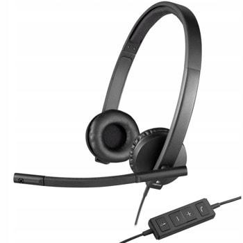 Слушалки Logitech Stereo H570e, микрофон, черни image