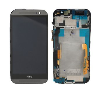 HTC One M8, LCD with touch and frame, black product