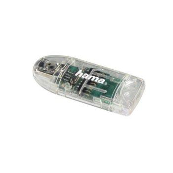 Четец за карти Hama 91092, USB 2.0, SD/SDHC/MMC/microSD/miniSD/microSDHC, прозрачен image