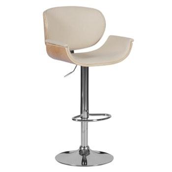 Бар стол Carmen 4050, до 100кг, еко кожа, хромирана база, газов амортисьор, коригиране на височина, крем image