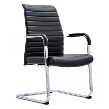 Посетителски стол Hugo, до 130кг, еко кожа, черен image