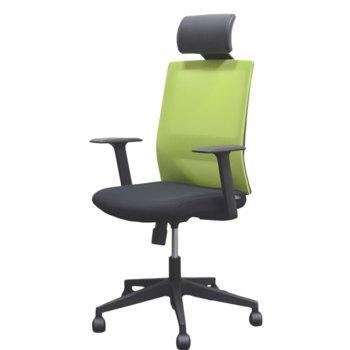 Директорски стол RFG Berry HB, дамаска и меш, черна седалка, зелена облегалка image