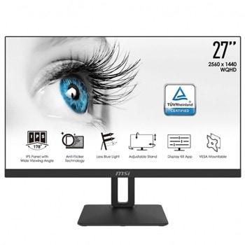 """Монитор MSI PRO MP271QP, 27"""" (68.58 cm) IPS панел, WQHD, 5ms, 1000:1, 300cd/m2, DisplayPort, HDMI image"""
