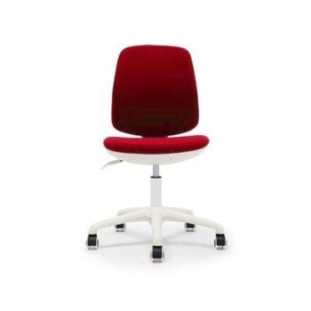 Детски стол RFG Lucky White, дамаска, червена седалка, червена облегалка image
