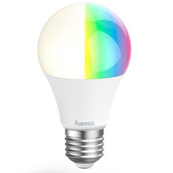 LED крушка Hama WLAN LED 176581, E27, 10W, 806 lm, 2700K - 6500К, топло бялa, RGB, димираща, Wi-Fi image