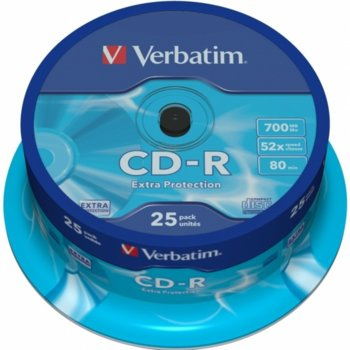 Оптичен носител CD-R media 700MB, Verbatim, 52x, 25бр. image