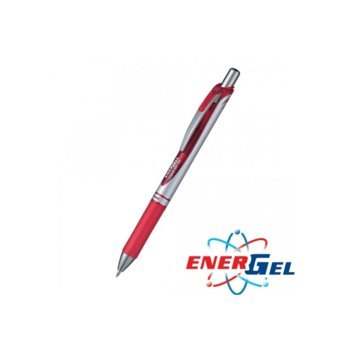 Автоматичен ролер Pentel Energel BL77, червен цвят на писане, дебелина на линията 0.7 mm, гел, сребрист, цената е за 1бр. (продава се в опаковка от 12бр.) image