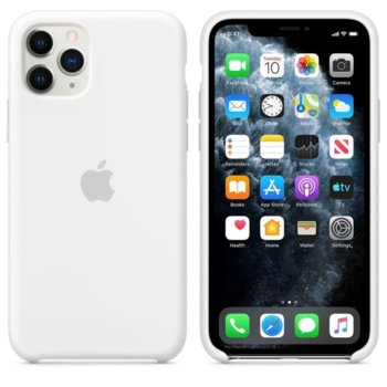 Калъф за Apple iPhone 11 Pro, силиконов, Apple Silicone Case MWYL2ZM/A, бял image