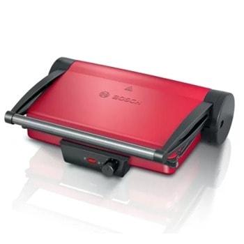 Грил преса Bosch TCG4104, незалепващи плочи за скара с отвор за мазнини и две тави за изтичане на мазнини, 2000 W, червена image