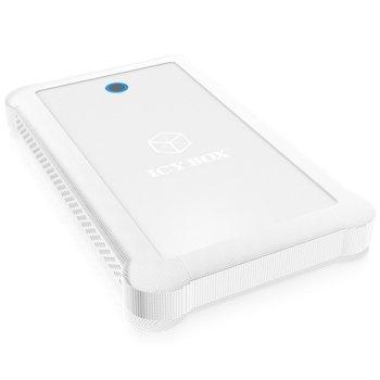 """Кутия 2.5"""" (6.35 cm), RaidSonic IB-233U3-Wh, за 2.5"""" SATA HDD/SSD, USB 3.0, с предпазен калъф от силикон, бяла  image"""